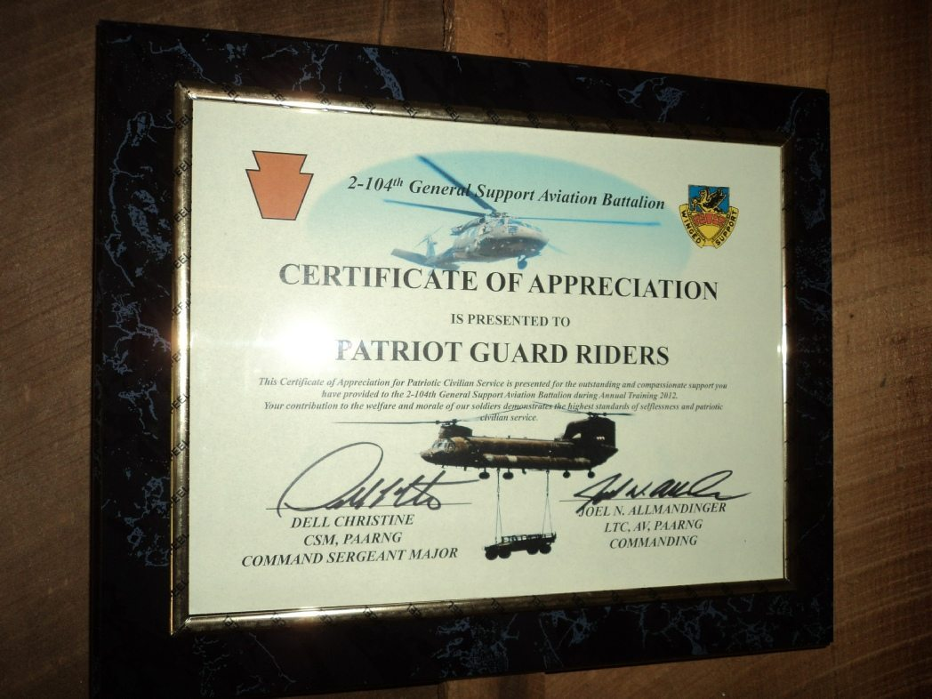 Certificat of Appreciation 2-104th